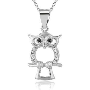 POLIVA Hot Selling 925 Sterling Silver Pearl Oyster Cage Black Onyx Little Bird Owl Animal Necklace Pendant