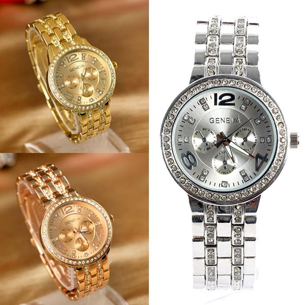 49306932db10 Женева шику кристалл женщины девушка мужской нержавеющей стали кварцевые наручные  часы