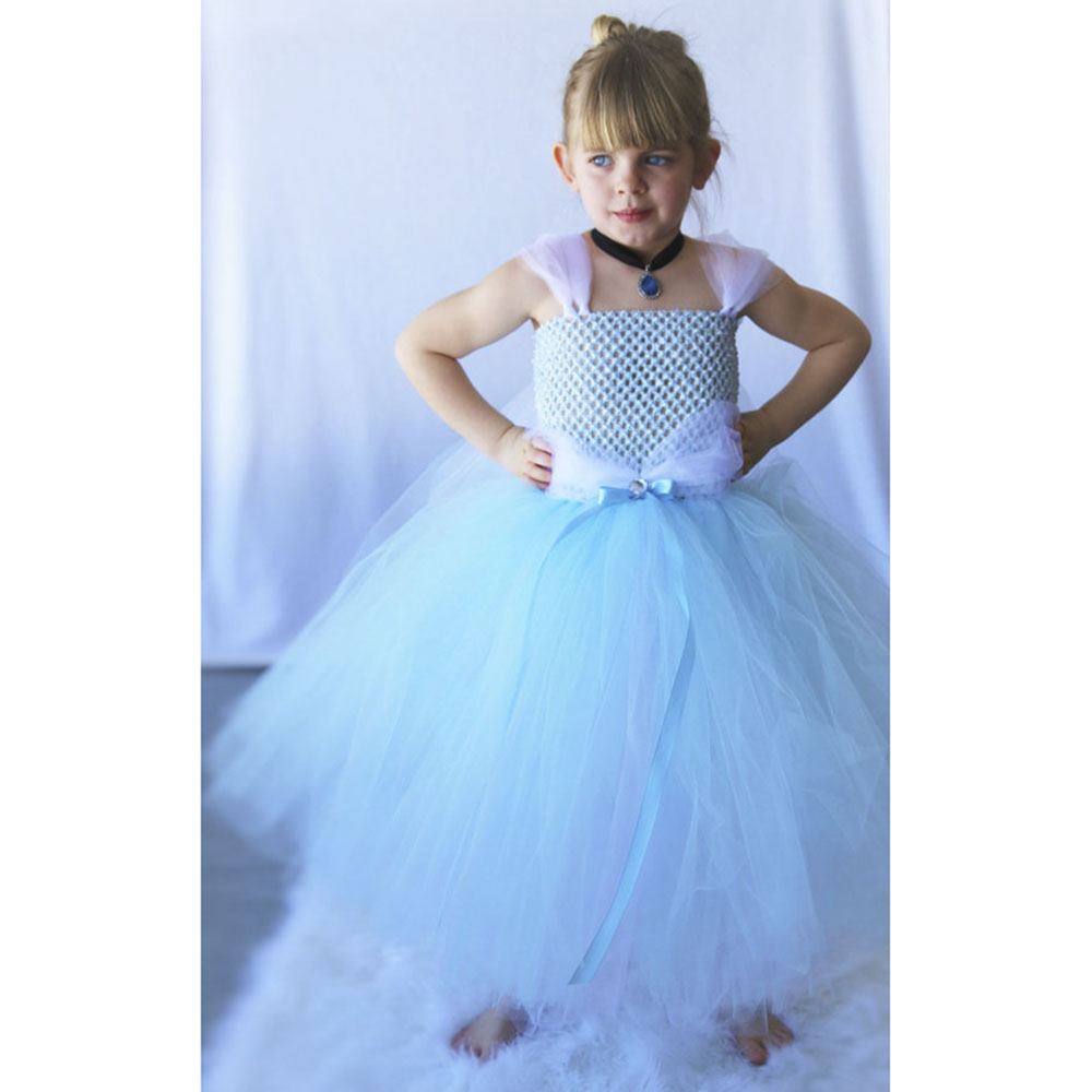 Cinderella Tutu font b dress b font Cinderella Costume Pretty Blue White Princess Handcrafted Girls Fashion