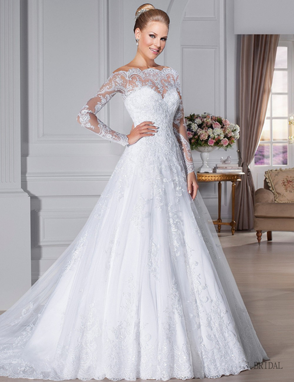 Vestido De Noiva Wedding dress Custom Made Scoop See Through Back Zipper Button Beaded Appliqued Long