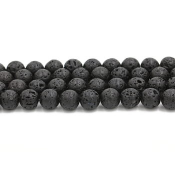 2021 gold supplier wholesale 8mm natural stone loose gemstone black lava bead