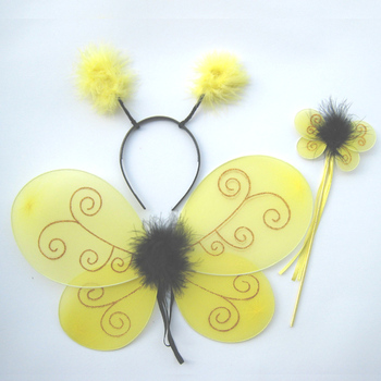 Yellow color gold glitter Bumble Bee fairy wing headpiece and wand kids fairy costume party decoration