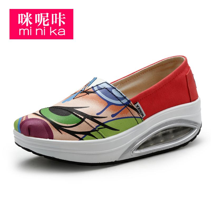 Minika 2020 Весенняя женская Нескользящая повседневная обувь из сетчатого материала без шнуровки; Парусиновая обувь на воздушной подушке; Кроссовки с толстой подошвой