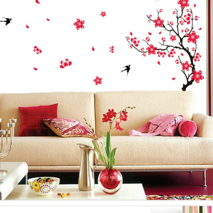 Beautiful Large 60*90 CM Plum Blossom Flower Tree and Swallow Birds Wall Stickers Home Decor Creative Home Decoration