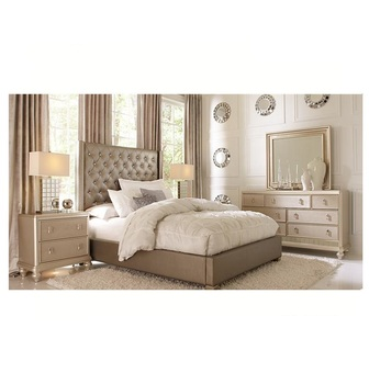 High Quality Modern Fashion style king size luxury bed grey bedroom furniture