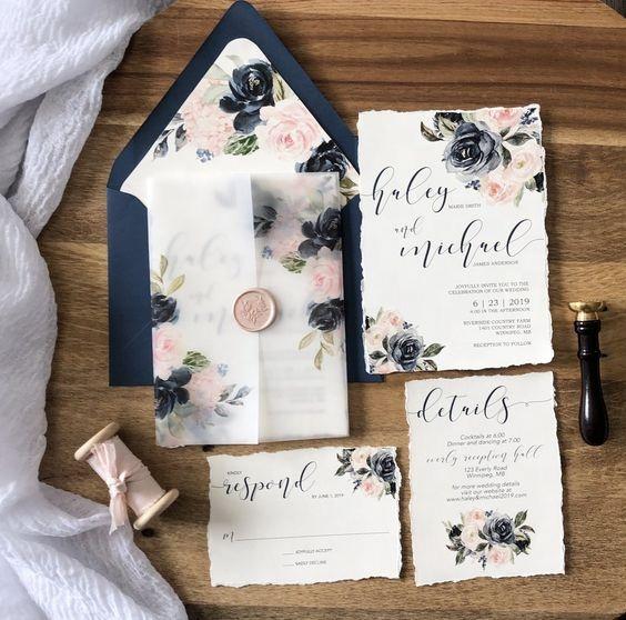 Floral Custom Design Includes Envelopes Wedding Invitations 5x7