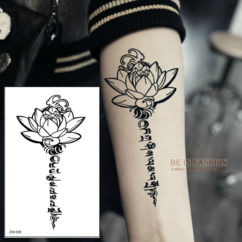Henna Tattoo Alphabet: Buddha Lotus Designs Temporary Tattoo Letters Sanskrit