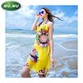 Free shipping 2016 summer new arrival fashion beach dress sling printed chiffon scarf beach towel