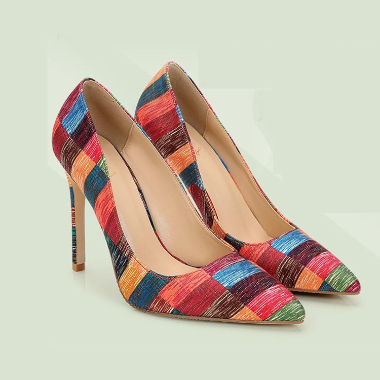 Женские туфли на шпильках, золотые тканевые туфли на высоком каблуке, модные туфли в полоску по индивидуальному заказу
