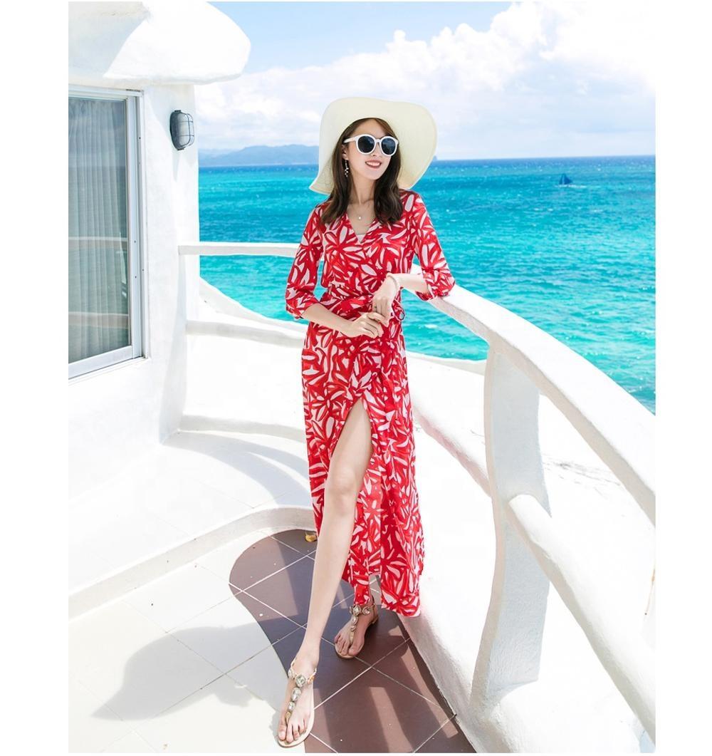 Gaun Pantai Motif Panjang Musim Panas Grosir 8 Gaun Gadis Bunga Untuk  Gaun Bulan Madu Seks - Buy Long Puffy Dress For Girls,Summer Long Printing