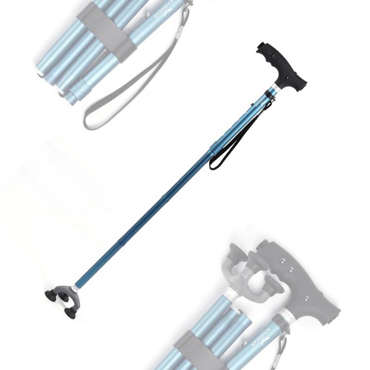 Алюминиевые скандинавские легкие светодиодные резиновые регулируемые складные трости для пожилых людей с 3 ножками