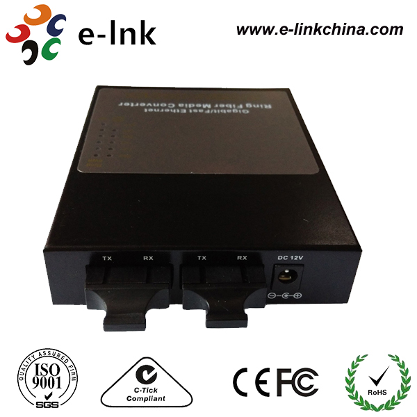 10/100M Dual Fiber Ring Network Media Converter | SC Duplex 10/100M Fiber Optic Ring Type Media Converter