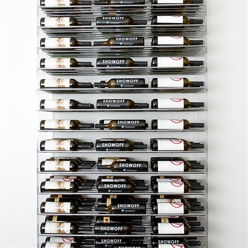 Прозрачная акриловая и алюминиевая Винная стойка на 96 бутылок