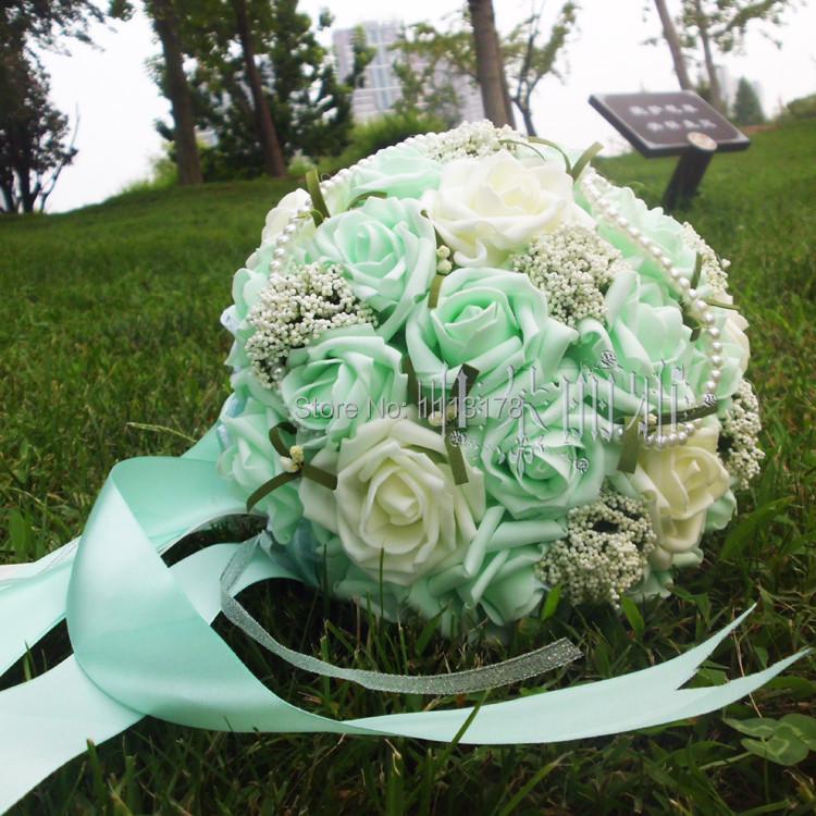 Mint Wedding Flowers: Mint Green Bridal Flower Bouquet Artificial Bundles