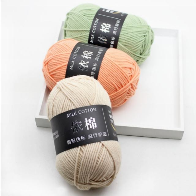 Free Samples Various Colors Soft Worsted Knitting Baby Yarn Thick Milk Cotton Yarns with 4ply