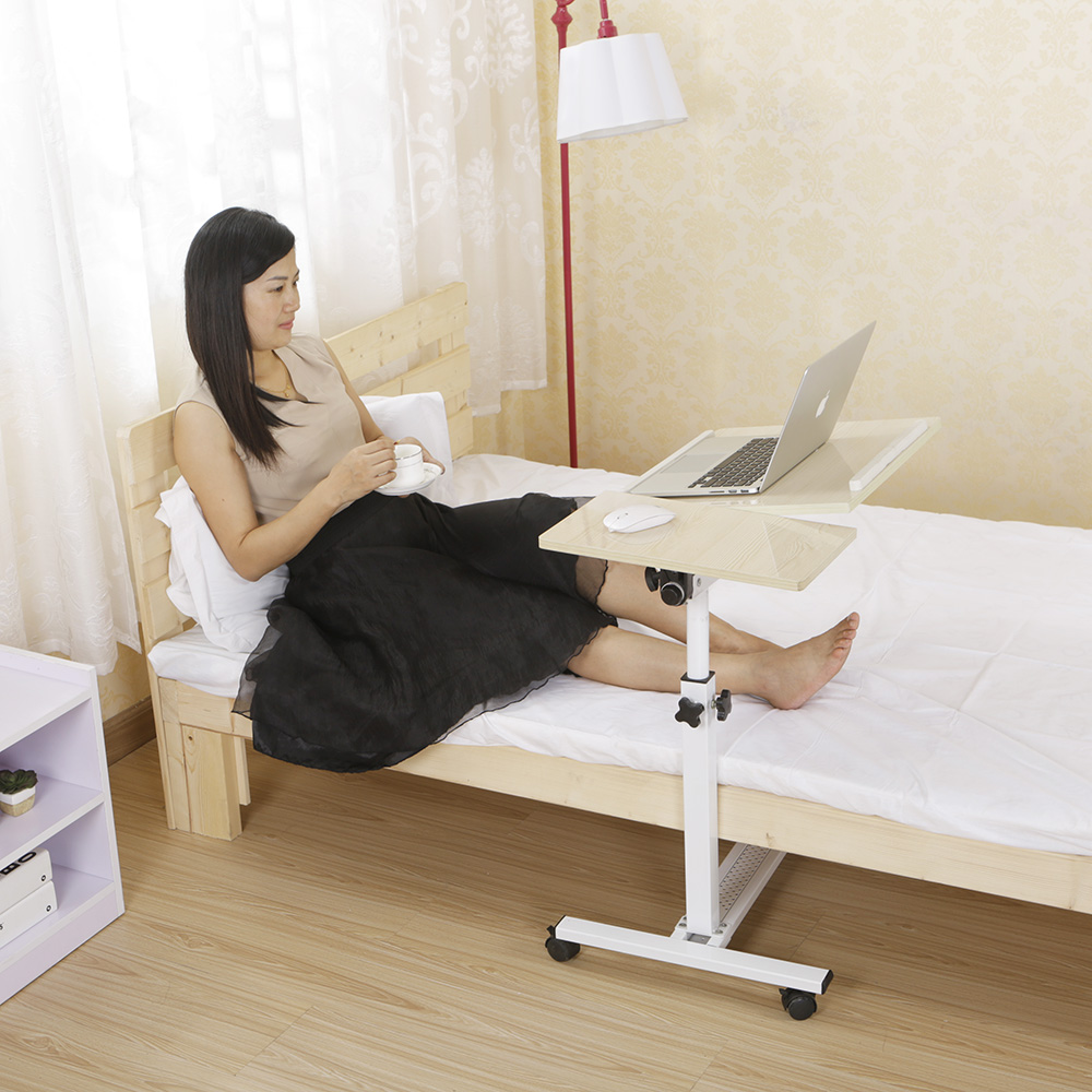 Height Adjustable Hospital Bed Tray Table With Wheels