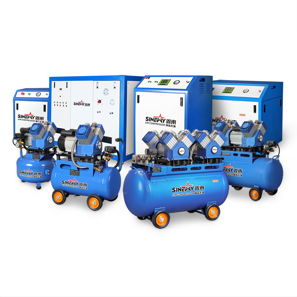 Free sample new technology long life electric 220 volt ultra silent mobile oilless oil free heavy duty air compressor
