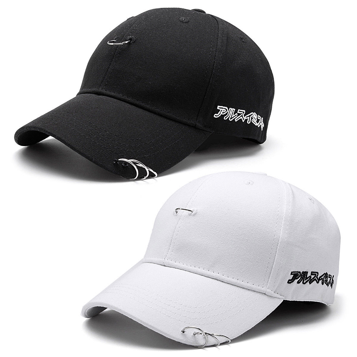 f971d863401021 Black/White Men Women Summer Baseball Cap Unisex Solid Ring Pin ...