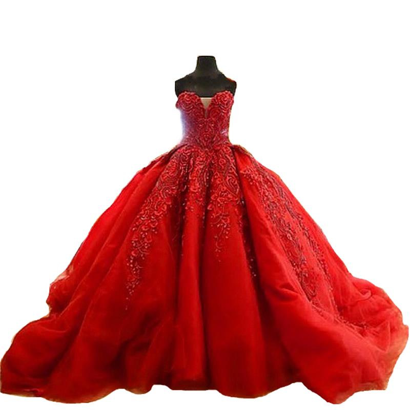 Red Wedding Gowns 2014: Charming Ball Gown Red Wedding Dresses Sexy Sweetheart