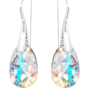 Crystal Aurora Drop Earrings 925 Sterling Silver Austria Crystal Girls Hermosa Jewelry Amazon HOT