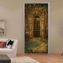 Пользовательские размеры деревянные двери наклейки для гостиной спальни пейзаж ПВХ самоклеющиеся обои водонепроницаемый ремонт настенны...(Китай)