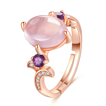 Fine Jewellery 925 Sterling Silver Jewelry Simple Pink Rose Quartz Ring S925 For Women RI017