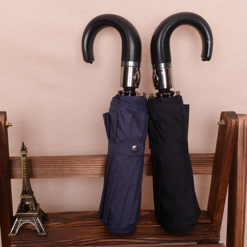 Бесплатная доставка мужская бизнес зонт автоматический высокого качества кожа изогнутой ручкой зонтика ветрозащитный зонтик большой