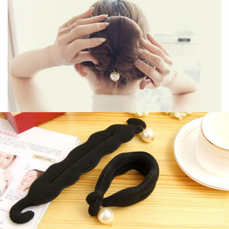 Pearl Hair Bun Styling Tools Roller Black Barrette For Women Hair ...