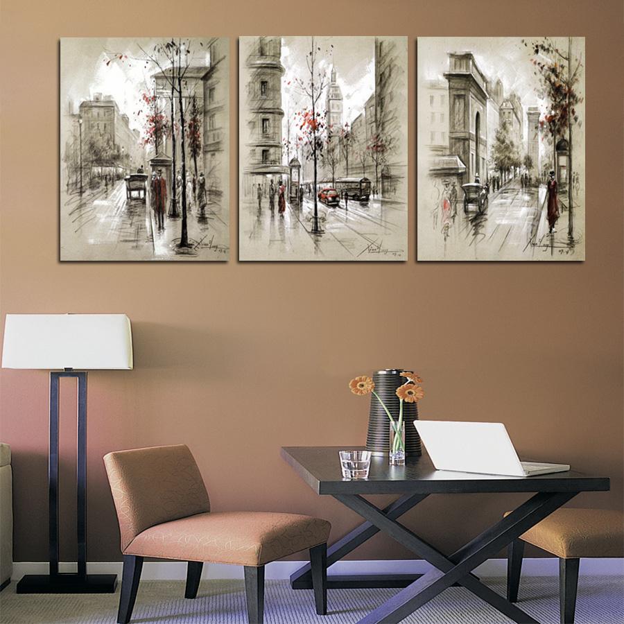 Home decor canvas painting abstract city street landscape - Modern wall decor ideas ...