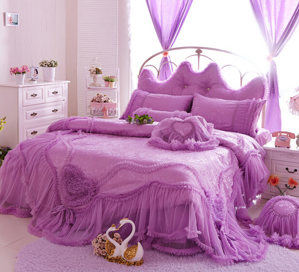 romantic ruffle wedding bedding set girl twin full queen 100 cotton single double bedclothes. Black Bedroom Furniture Sets. Home Design Ideas