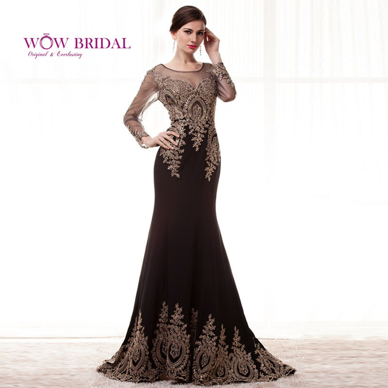 Robe De Soriee New Simple Wedding Dress Full Sleeve Lace: Wowbridal Elegant Full Golden Lace Long Sleeve Evening