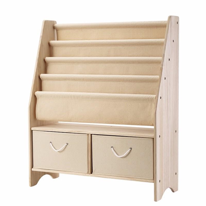 Childrens Kids 3 Tier Toy Bedroom Storage Shelf Unit 8: Natural Wooden Kids 5 Tier Canvas Bookshelf With Toy
