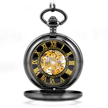 Black Steampunk Skeleton Mechanical Pocket Watch Men Antique Luxury Brand Necklace Pocket & Fob Watches Chain Male Clock