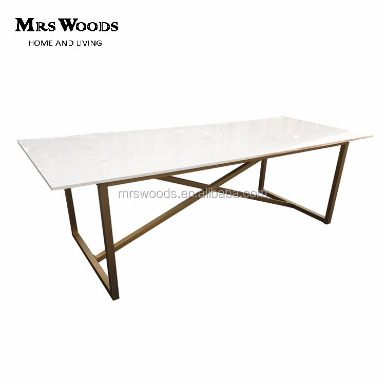 Modern Trestle White Marble Top And Gold Stainless Steel