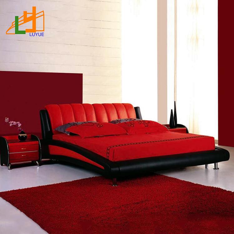 Super King Size Custom Color Living Room Furniture Red Black Modern Leather Bed Buy Modern Leather Bed Soft Leather Bed Living Room Furniture Product On Alibaba Com