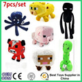 High Quality 7pcs set Minecraft Plush Toy Creeper Cartoon Game Sheep Enderman Brinquedos 7 Minecraft Plush