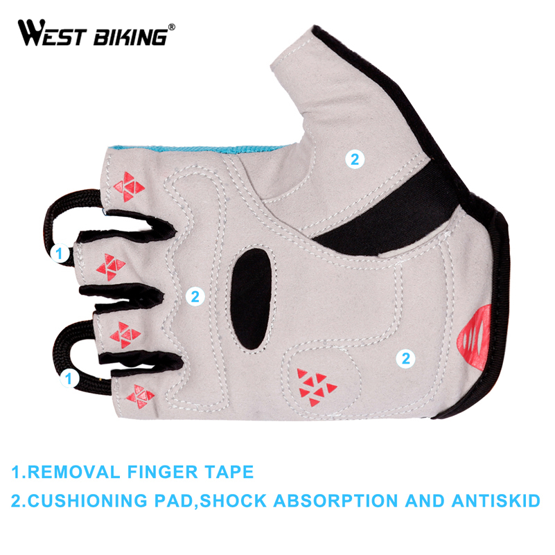 WEST BIKING Breathable Bike Riding Gloves Bicycle Mittens Racing Summer Half Finger Cycling Gloves