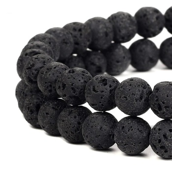 Wholesale Natural Black Lava Volcanic Round Stone Loose Beads For Jewelry Making 4mm 6mm 8mm 10mm 12mm 14mm