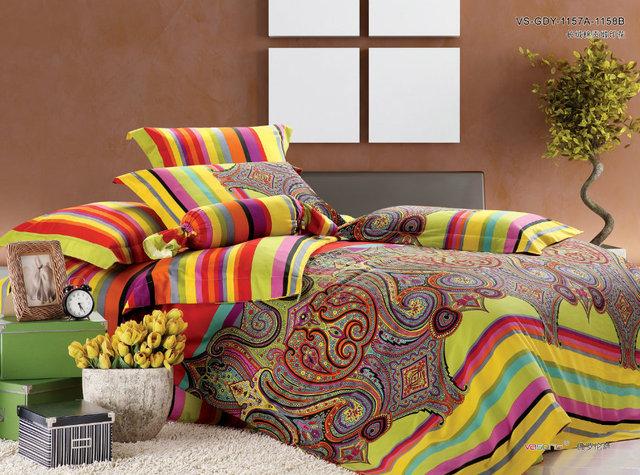 luxe coton gyptien satin paisley ensemble de literie roi queen size drap de lit couvre lit. Black Bedroom Furniture Sets. Home Design Ideas