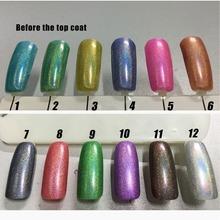 Free shipping Holographic Holo Glitter nail Polish 6pcs Inail Gel Nail polish 15ml 12 colors for