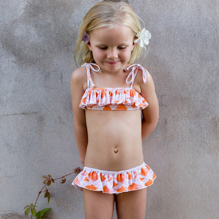 Girl Swimsuit with RufflesCustom Printed FabricExclusiveCuteUniqueMade to Order