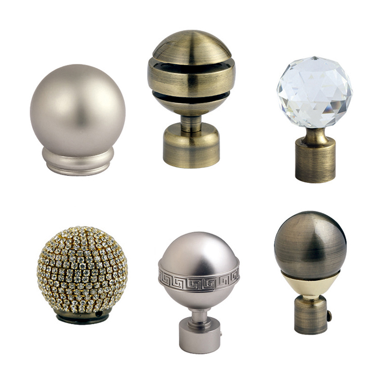 classical round ball curtain finial, metal curtain rod, curtain tube