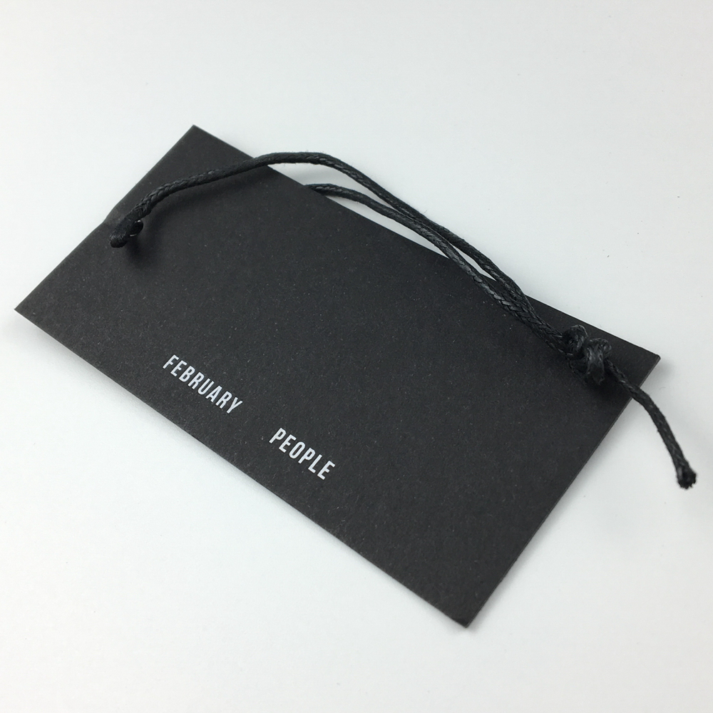 Custom black card paper hang tags for clothing