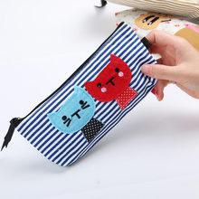 Креативный корейский маленький свежий милый мультяшный Кот, вместительный холщовый пенал в полоску, канцелярские принадлежности для студе...(Китай)