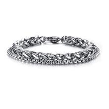 Мужской винтажный двойной браслет-цепочка ZORCVENS, браслет из нержавеющей стали серебряного цвета, аксессуары для мужчин(Китай)