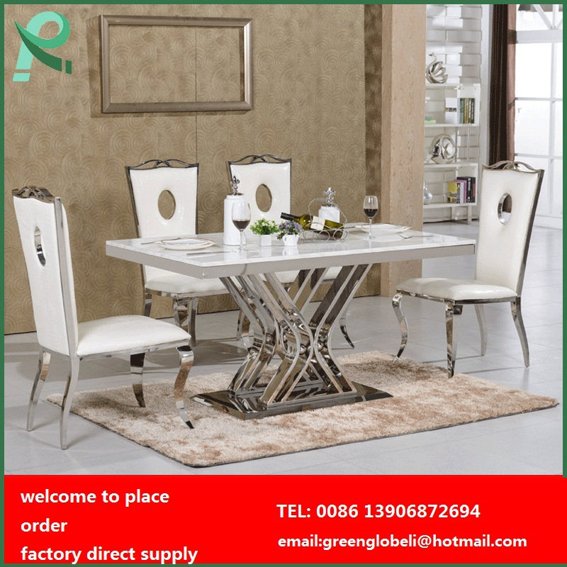 stainless steel dining table and chairs dining room table marble top dining table set in dining. Black Bedroom Furniture Sets. Home Design Ideas