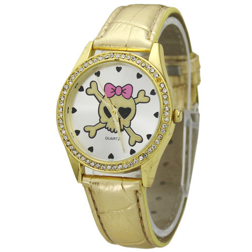 Charming New Gold Lovely Cartoon Skull Bow Watch For ...