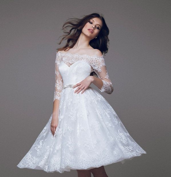 Simple And Elegant Wedding Dresses Boat Neck Three Quarter: 2016 New Elegant Off The Shoulder 3/4 Sleeves White Lace A