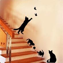 4 cute cats playing font b wall b font font b stickers b font kids room