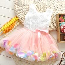 Girls' Pink Rose Petal Hem Dress Girls Floral Clothes 6 Different Colors Cute Kids Clothes Princess TuTu Dress Vestidos Infantis